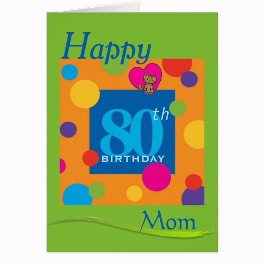 80th Birthday Cards For Mom Happy Card Zazzle Com