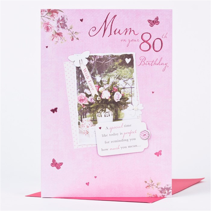 80th birthday card mum rose design