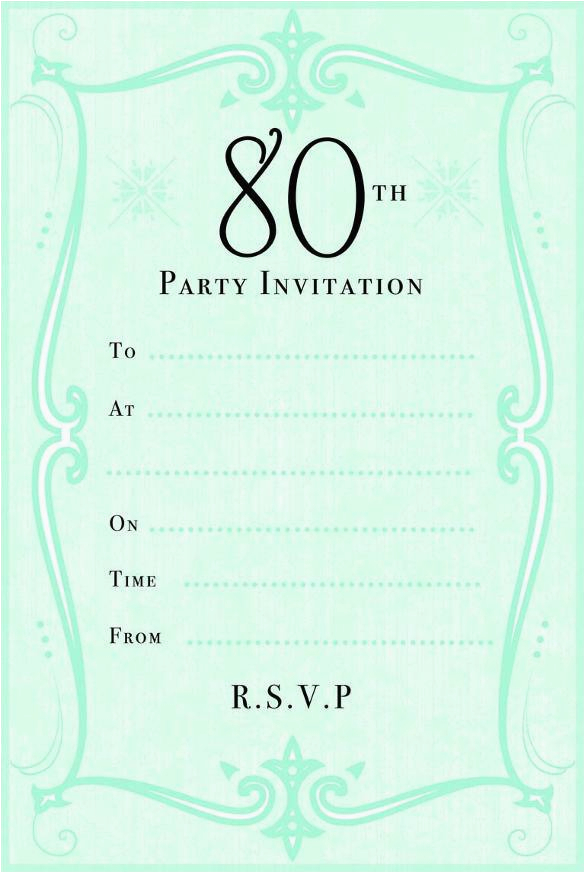 80th Birthday Cards Free Printable 10 Sample Images Party Invitations