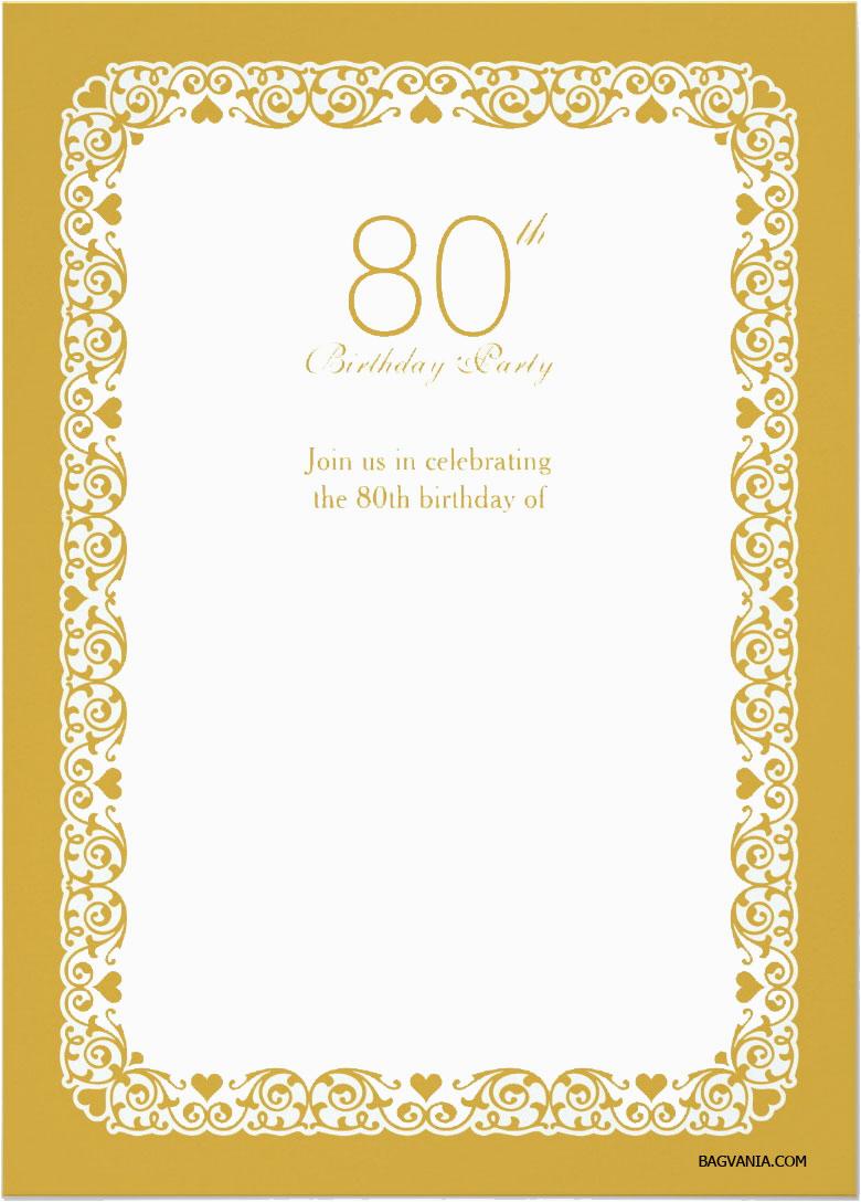 80th Birthday Cards Free Printable Invitations Bagvania