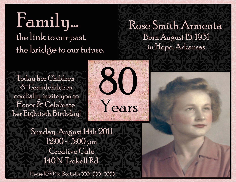 80th Birthday Celebration Invitations