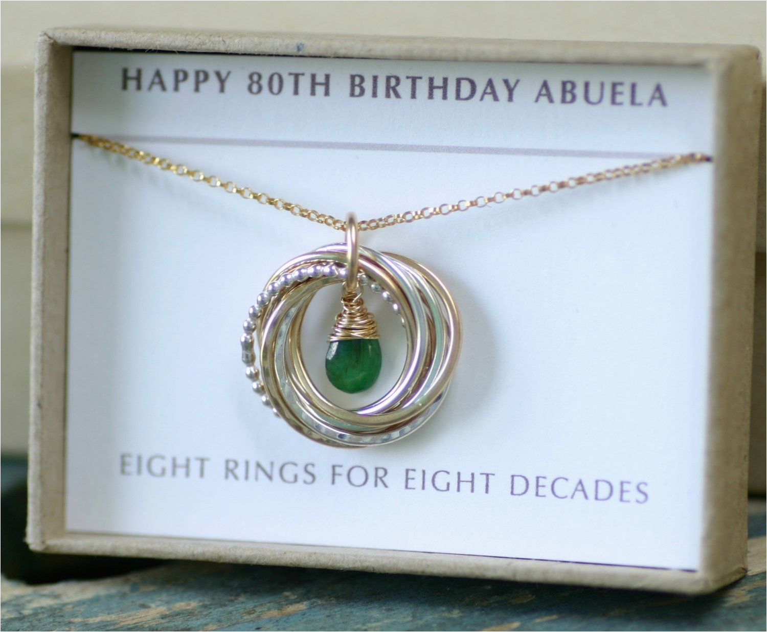 80th Birthday Gift May Birthstone Necklace For By