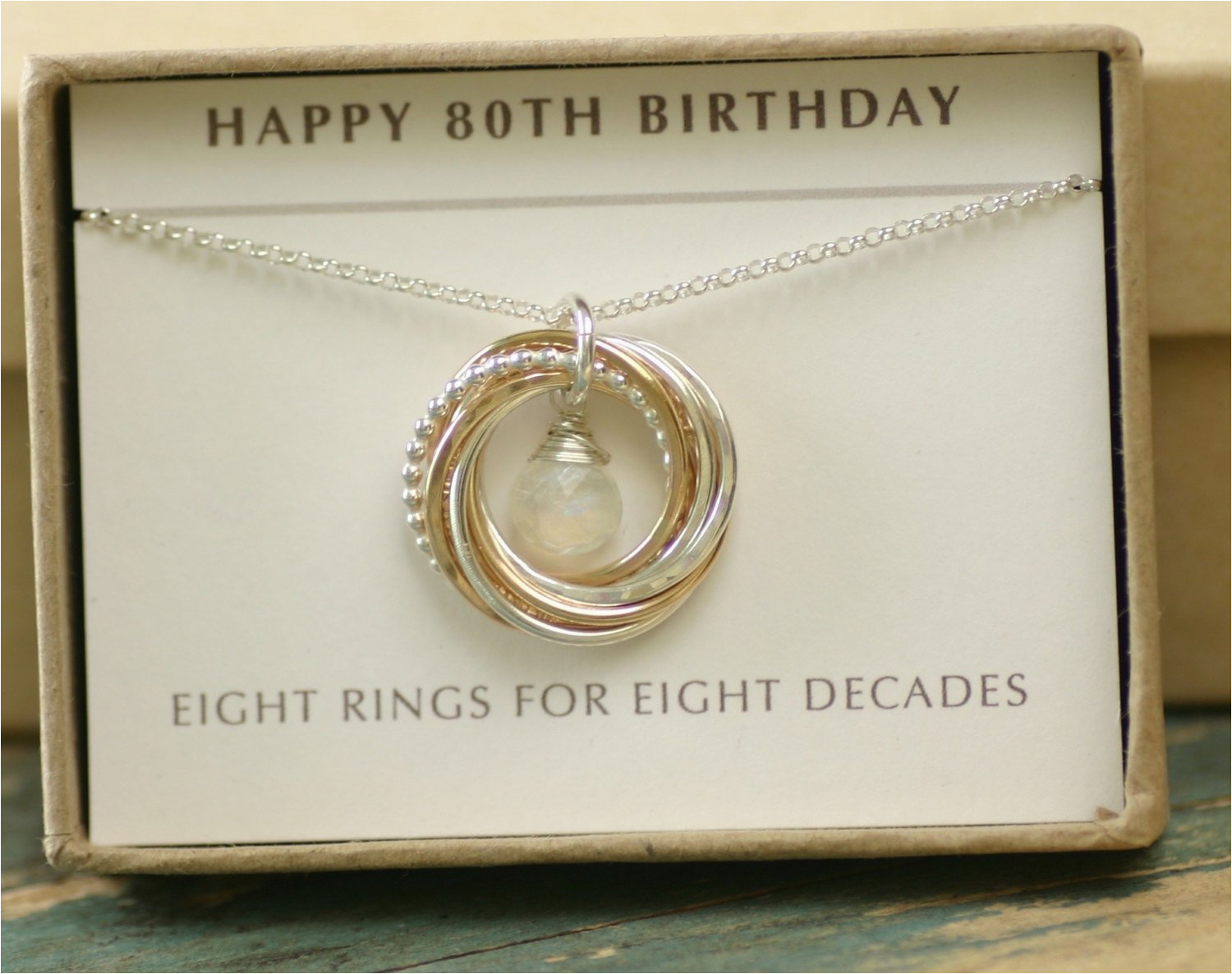 80th Birthday Gift Mom Moonstone Necklace By Ilovehoneywillow
