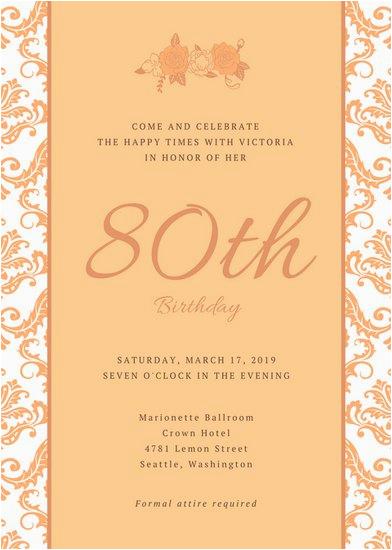 80th Birthday Invitation Wording Templates 80th Birthday Party Invitations Template Business