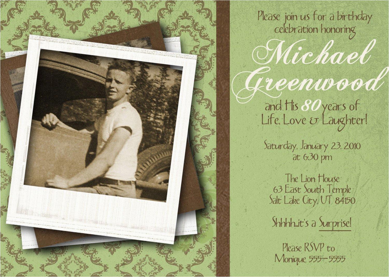 80th Birthday Invitations For A Man Celebration Invitation