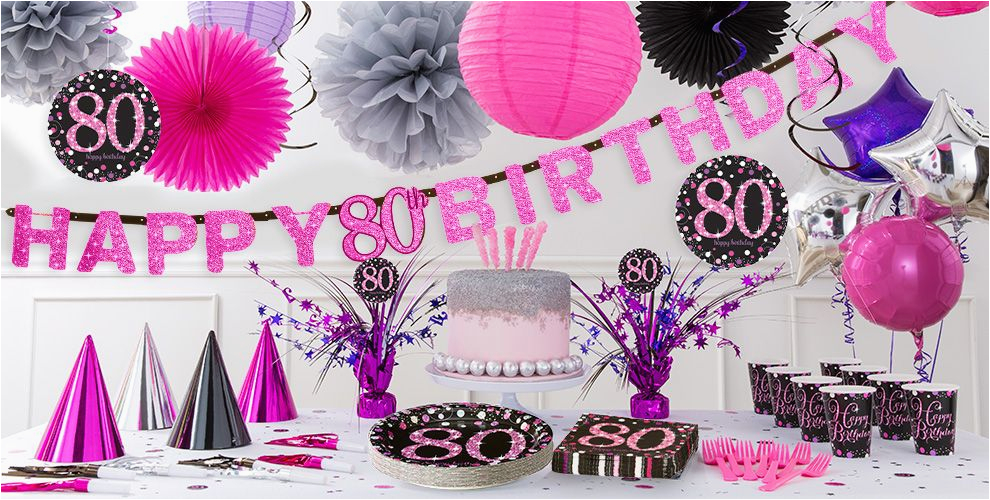 80th Birthday Party Decorations Supplies Pink Sparkling Celebration