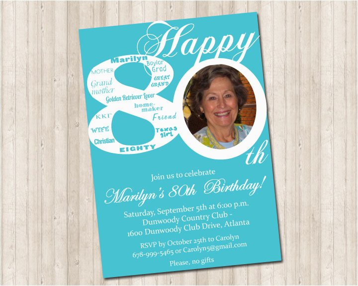 80th Birthday Party Invitations With Photos Invitation Pure Design Graphics