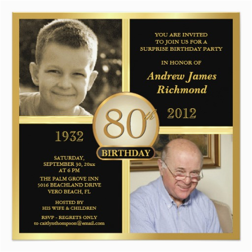 80th Birthday Party Invitations With Photos Then Now 2 Zazzle