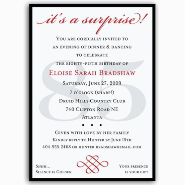 85 Birthday Invitations Classic 85th Red Surprise Paperstyle