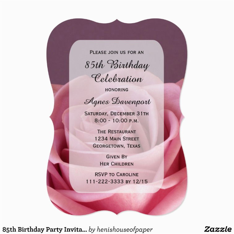 85th Birthday Invitation Template Party Lovely Rose Zazzle