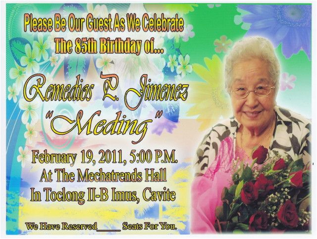 85th Birthday Invitation Template Free Party Invitations For