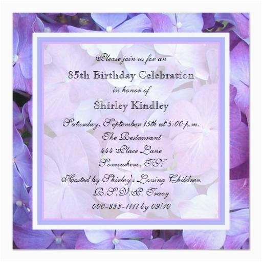 85th birthday party invitation purple hydrangeas 161014357945193362