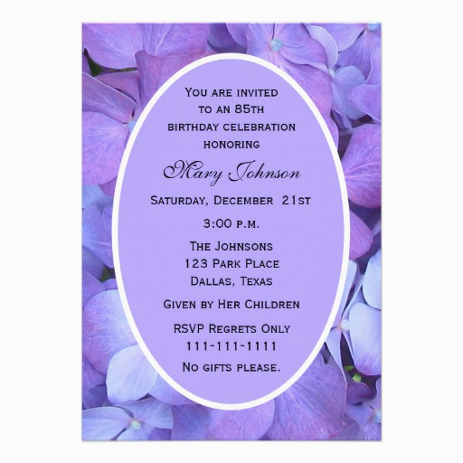 85th Birthday Invitation Wording Personalized Invitations