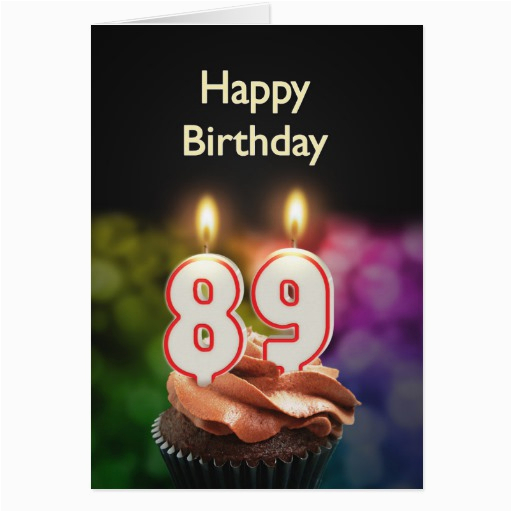89th birthday with cake and candles greeting card 137917052277668384
