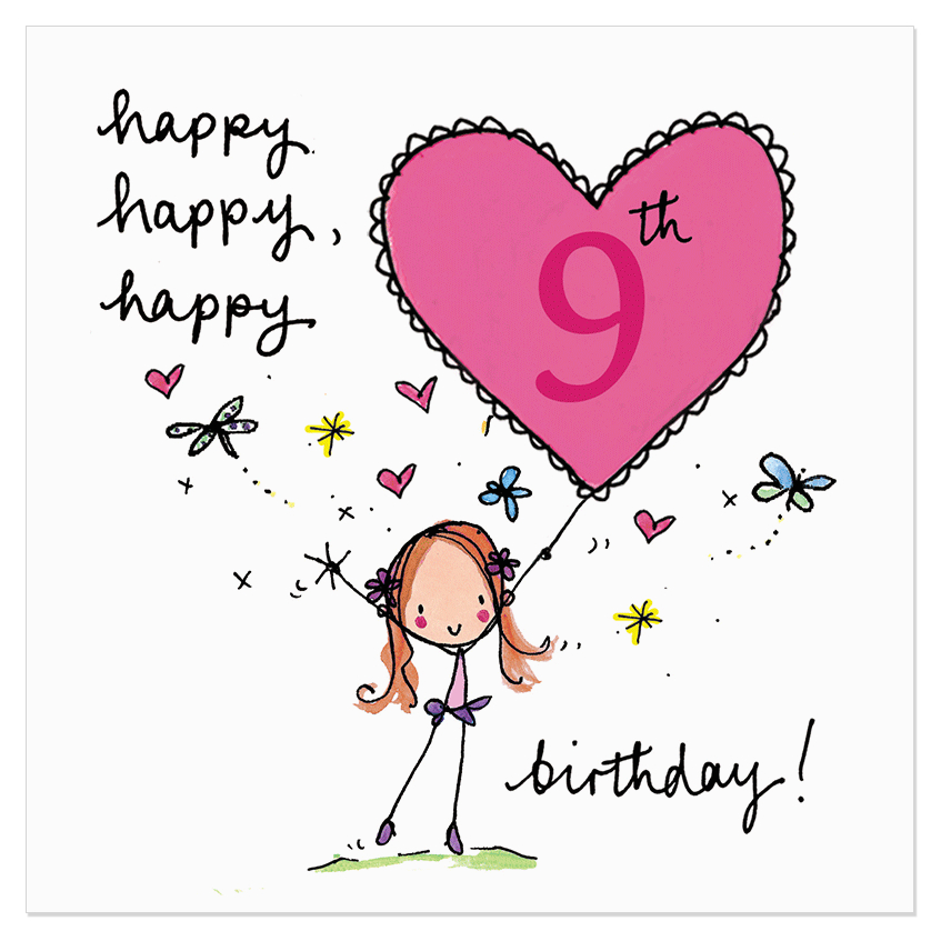 9 Year Old Birthday Card Sayings Happy 9th Juicy Lucy Designs