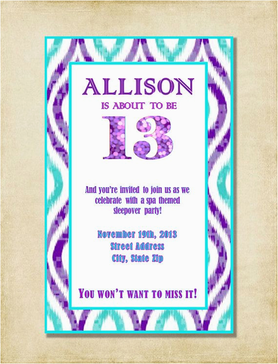 9 Year Old Birthday Invitation Wording Girl 13th Party Purple Aqua By