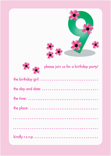 9 Year Old Birthday Invitations 10 Childrens Party Years Girl