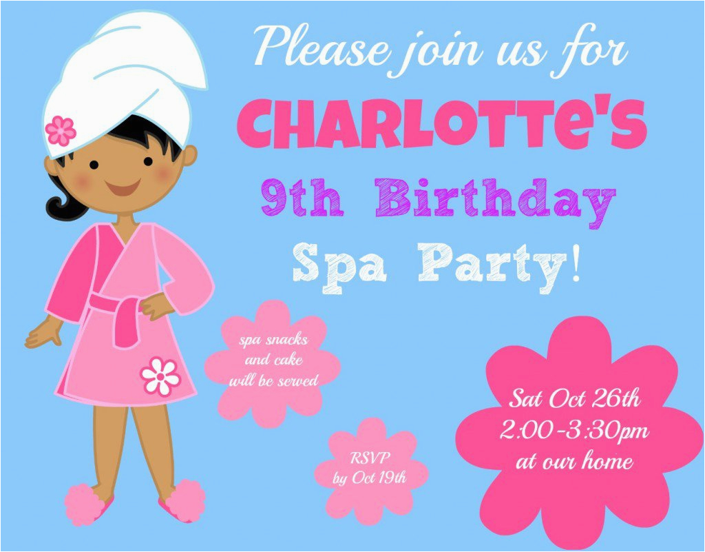 9 year old girl birthday party invitations