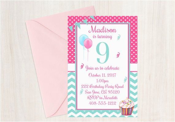 9 Year Old Birthday Invitations 9th Party Invitation Ninth