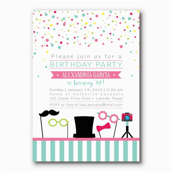 photo booth birthday invitation photo props party confetti invitation tween invite 9 year old birthday party ideas printable invitation