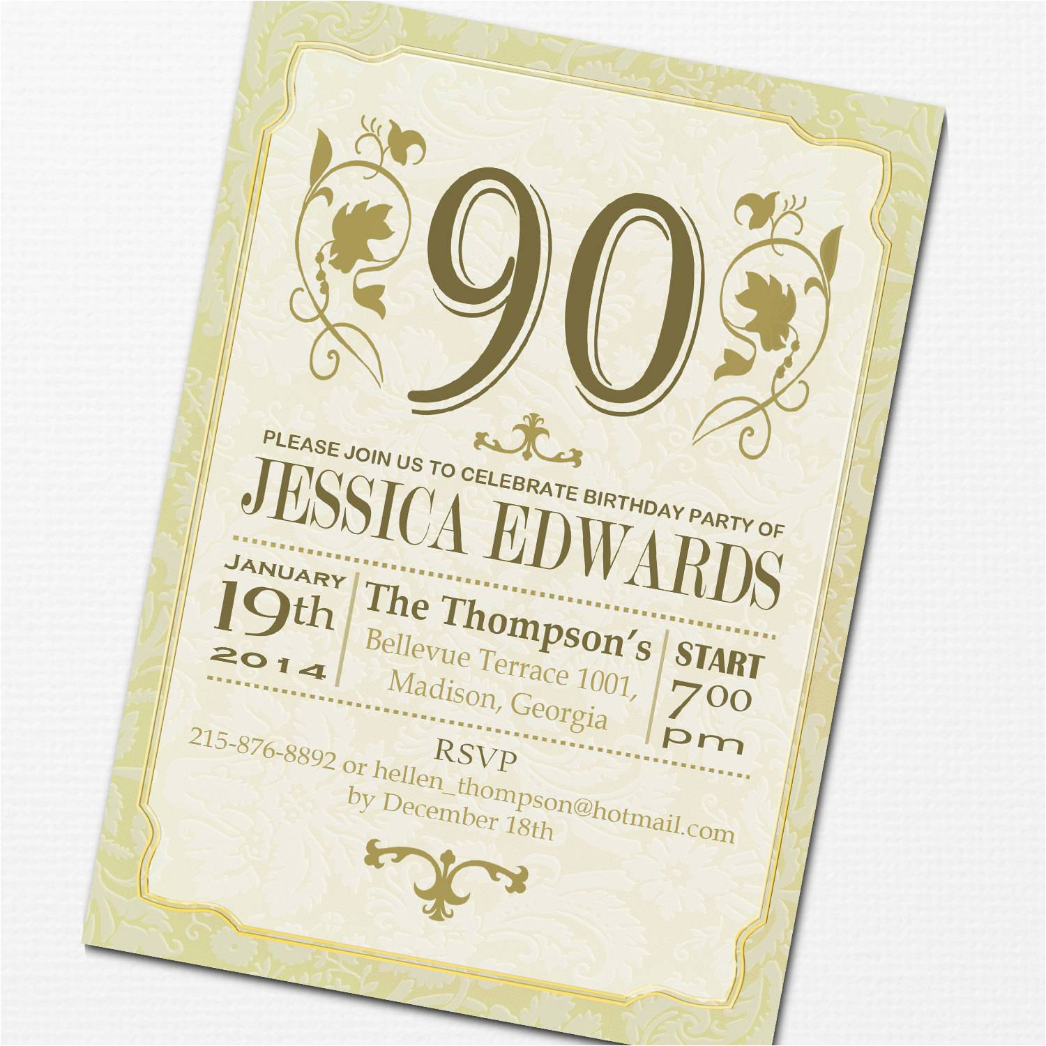90 Birthday Invitation Wording 90th Party Invitations Templates