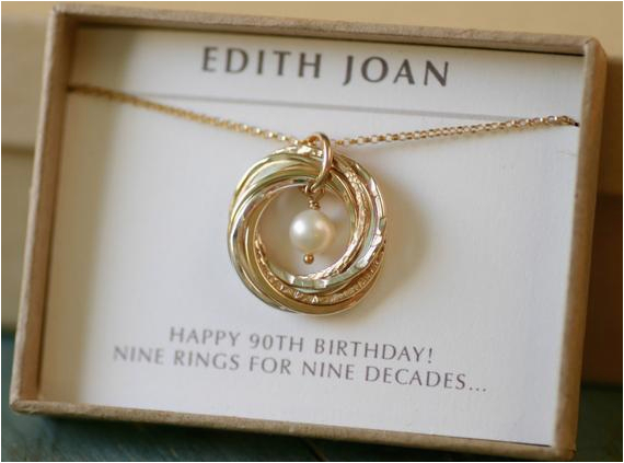 90th birthday gift for grandmother necklace by