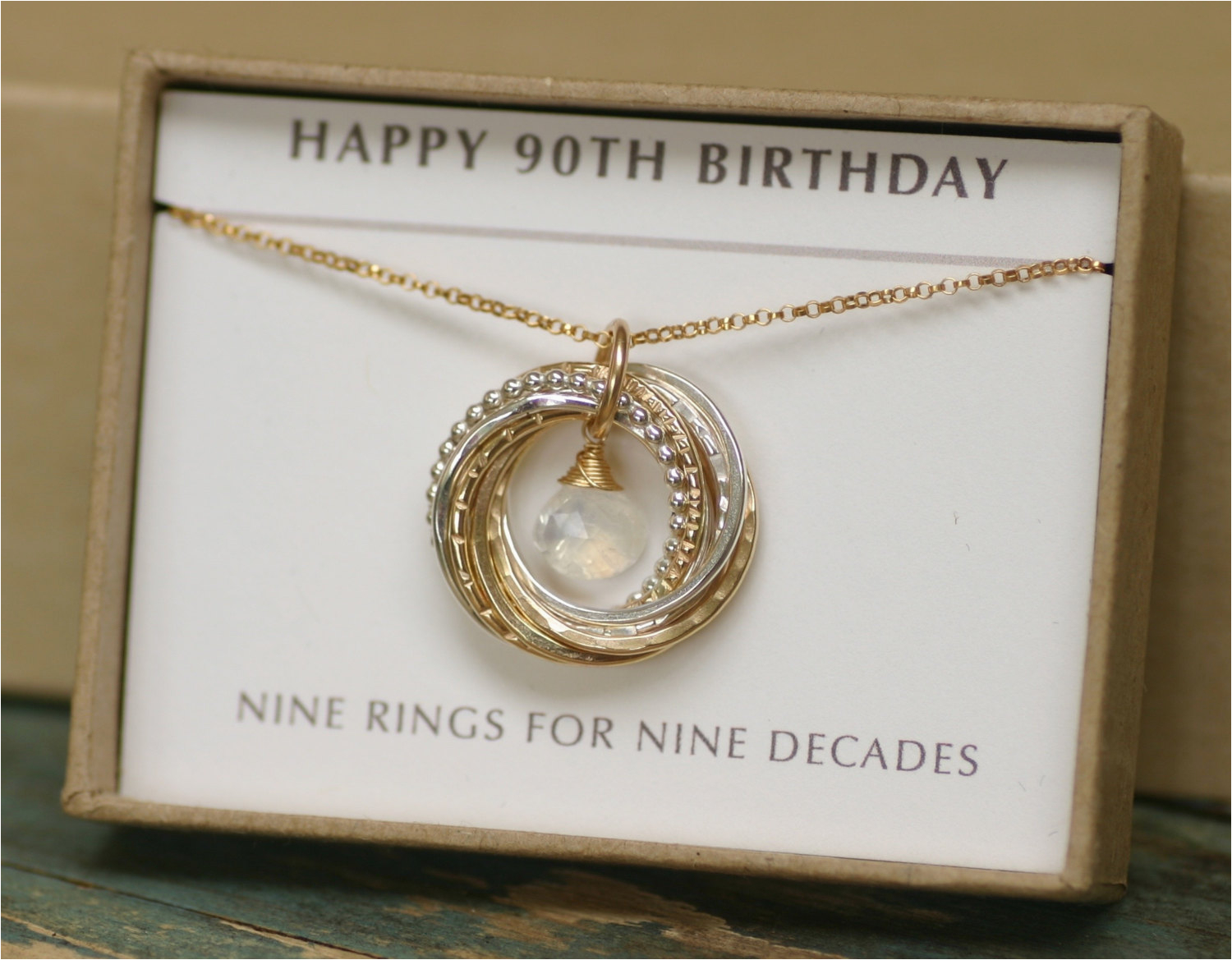 90th birthday gift for mum moonstone necklace by