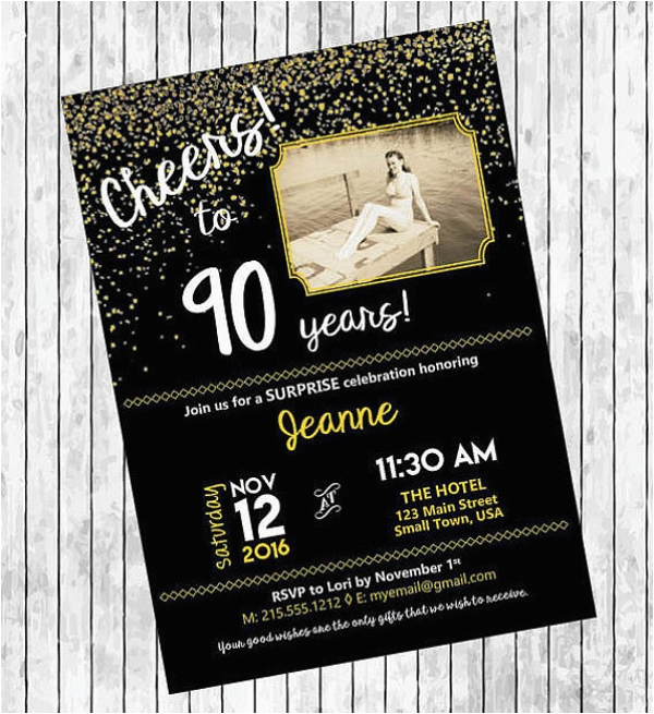 90th Birthday Invitation Template Free 11 Invitations Designs Templates Psd