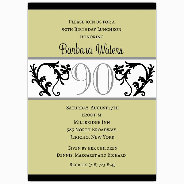 90th Birthday Invitation Template Free Elegant Vine Chartreuse Invitations Paperstyle