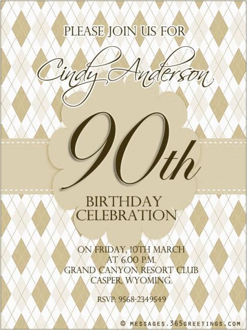 90th Birthday Invitation Wording 90th Birthday Invitation Wording 365greetings Com