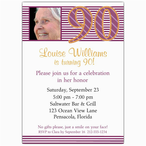 90th Birthday Pink Stripes Photo Invitations P 608 57 426