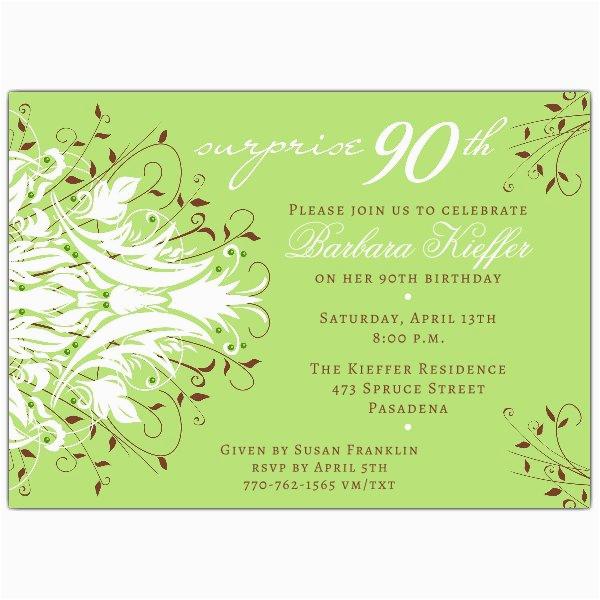 90th Birthday Invitation Wording Samples Andromeda Green Surprise Invitations