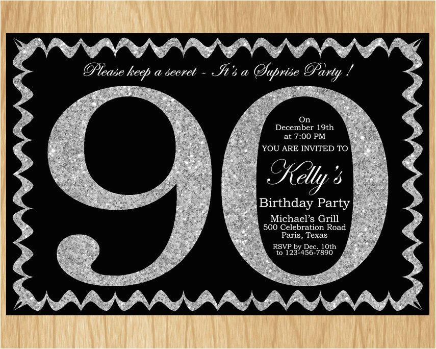90th Birthday Invitations Free Invitation Silver Glitter Party Invite