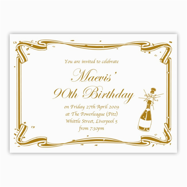 90th Birthday Invitations Free Party