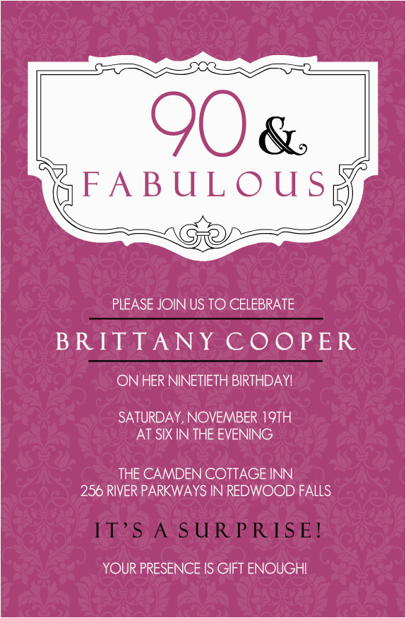 90th Birthday Invitations Wording Samples Invitation 365greetings Com