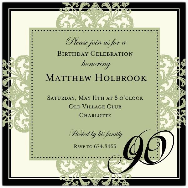 90th Birthday Invitations Wording Samples Decorative Square Border Green