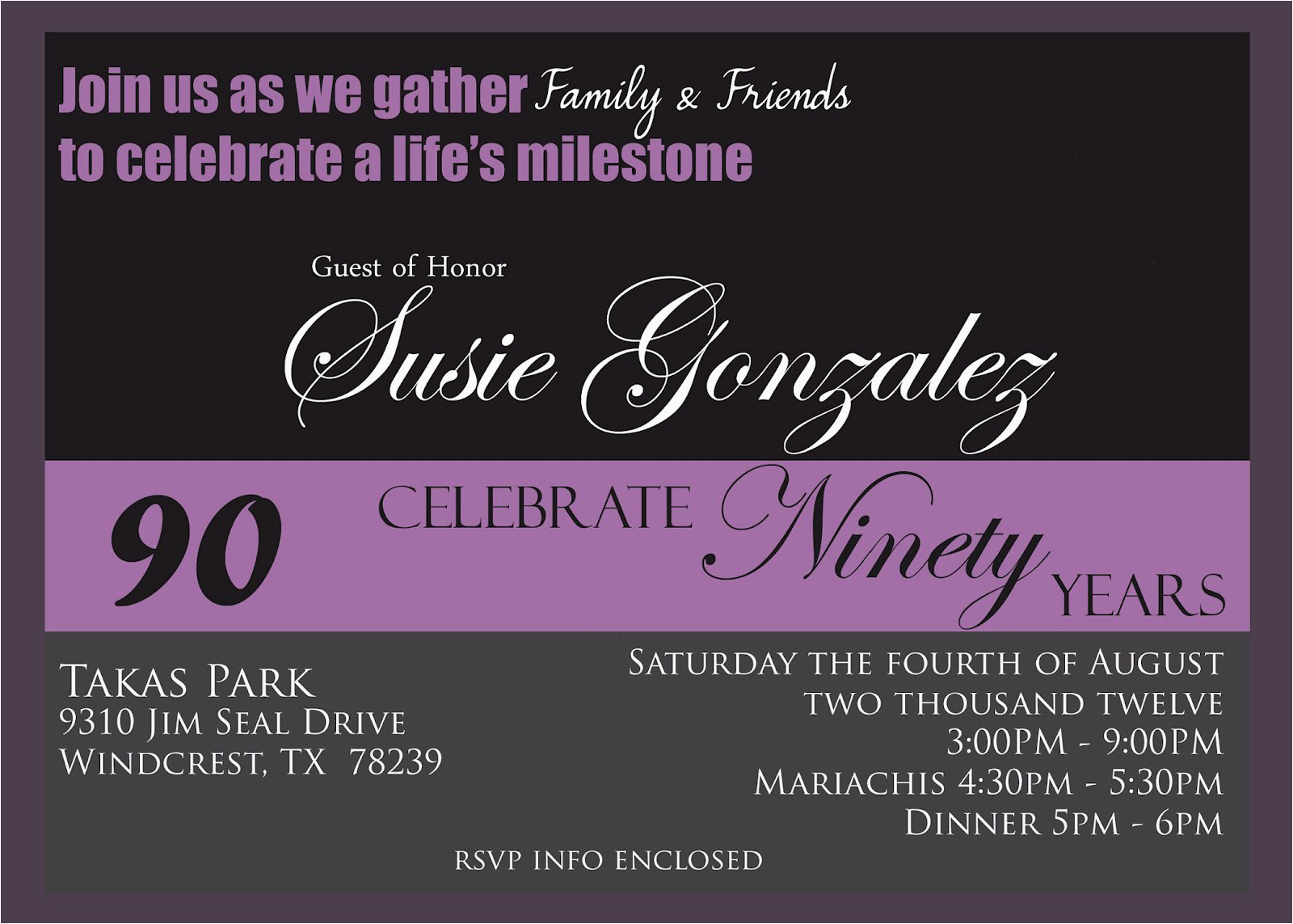 90th Birthday Invites Templates Free Invitation Best Party Ideas