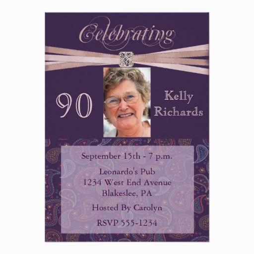 90th Birthday Photo Invitations Elegant Party Zazzle