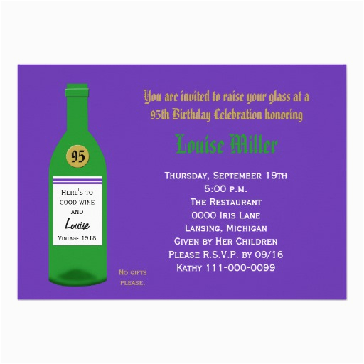 95th birthday party invitation purple 161449321565901937