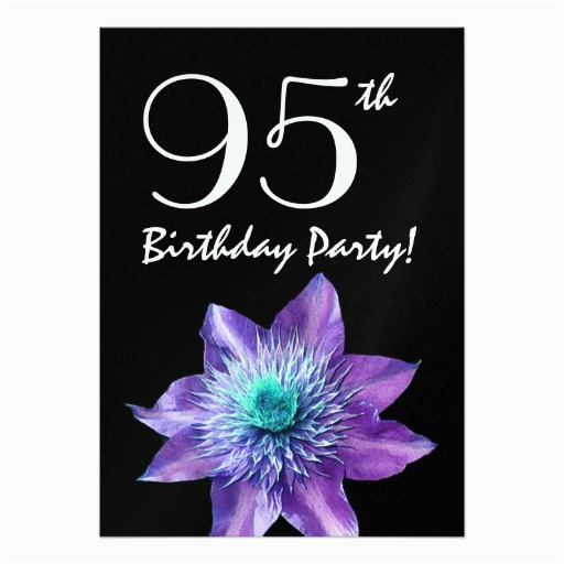 95th Birthday Party Invitations Template Purple Passion Flower Invites