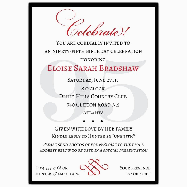 95th Birthday Party Invitations Classic 95th Birthday Celebrate Party Invitations Paperstyle