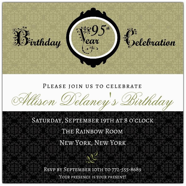 damask 95th birthday invitations p 606 55 00095