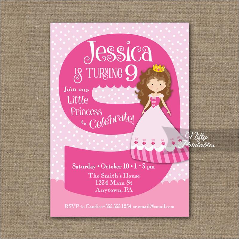 9th birthday invitation pink princess invitation nifty