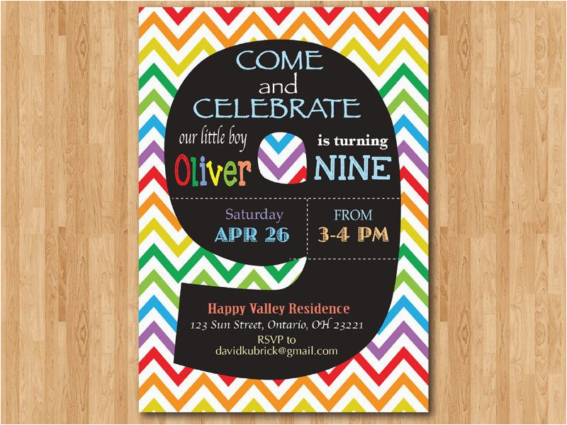 9th Birthday Invitation Wording Rainbow Colorful Chevron