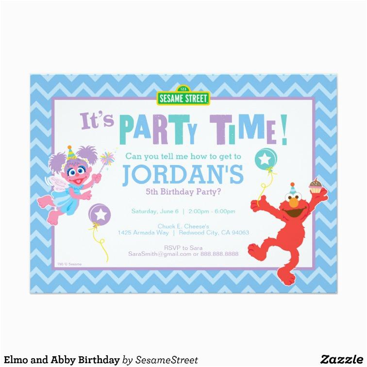 Abby And Elmo Birthday Invitations Elmo And Abby Birthday Card