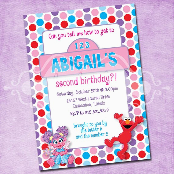 Abby And Elmo Birthday Invitations Elmo And Abby Birthday Party