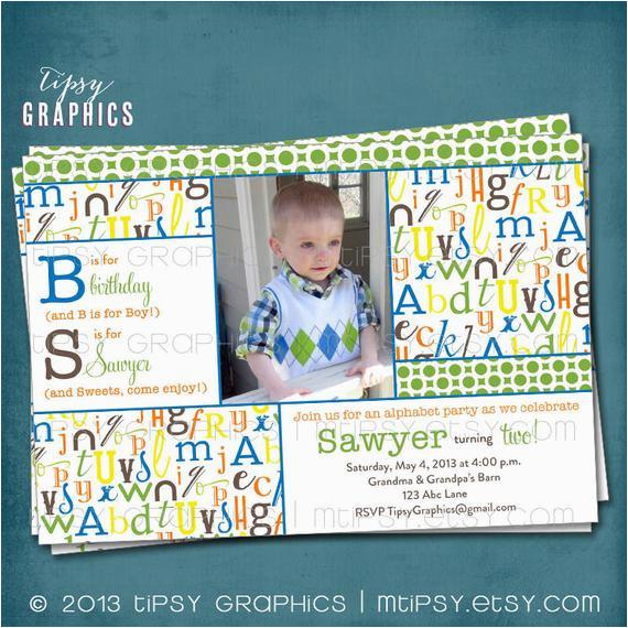 alphabet birthday party abc photo card 2