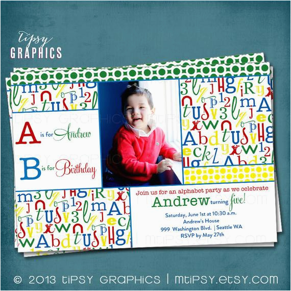 alphabet birthday party abc photo card 3
