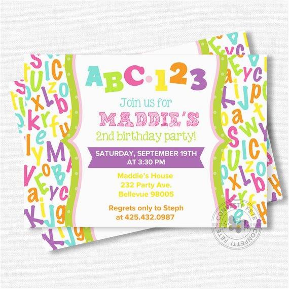 Abc Birthday Invitations Birthdaybuzz