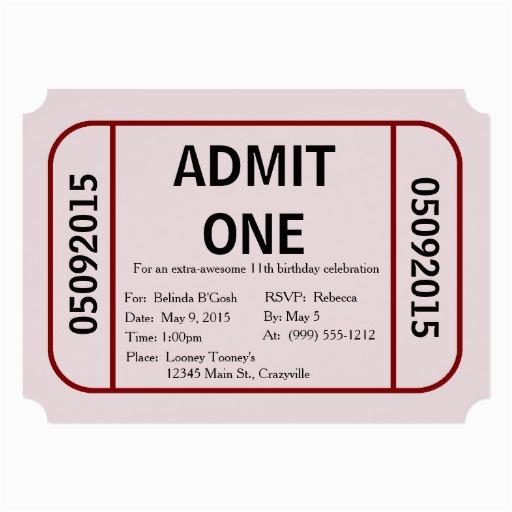 admit one ticket birthday party invitation 256468822481220850